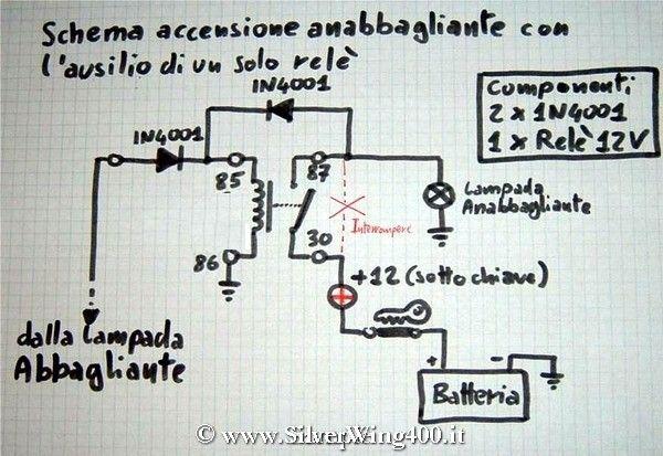 Schema Elettrico Per Collegare Un Relè : Cablaggio rele per comando xenon